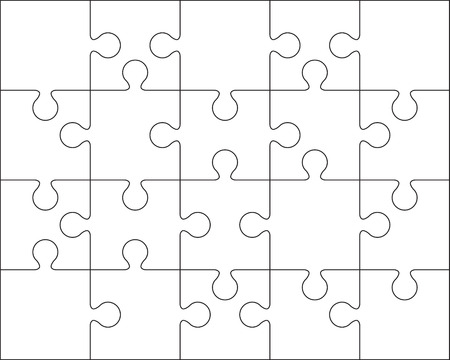 20 Jigsaw puzzle blank template or cutting guidelines : 4:5 ratio Stock Illustratie