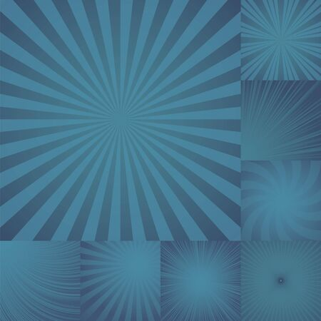 burst background: collection of color blue burst background. Vector illustration