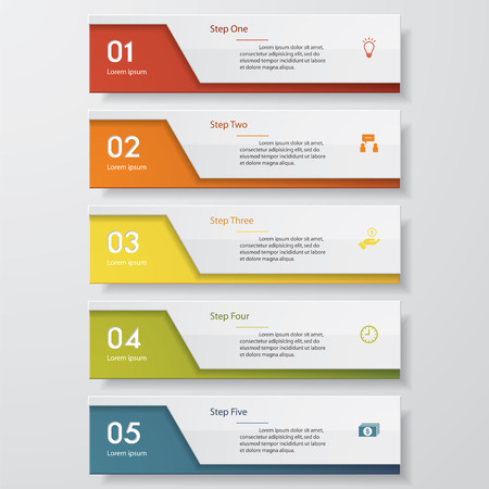 square buttons: Design clean number banners templategraphic or website layout. Vector.