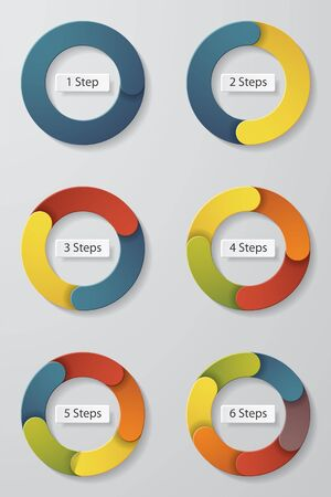 collection of colorful step circle (1 step-6 steps circle chart diagram). vector illustration.