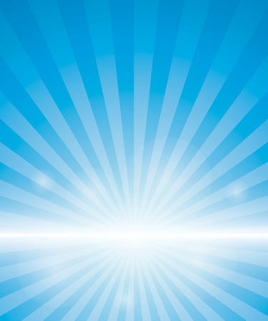 sun light: Blue Background With Sunburst. Vector Illustration