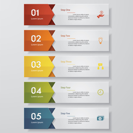 web menu: Design clean number banners templategraphic or website layout. Vector.