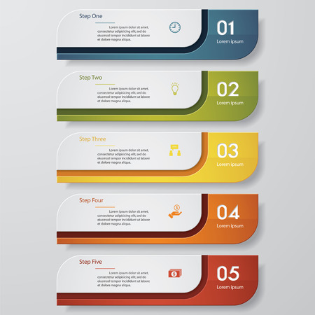 number button: Design clean number banners templategraphic or website layout. Vector.