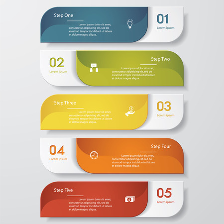 web icon set: Design clean number banners template. Vector.