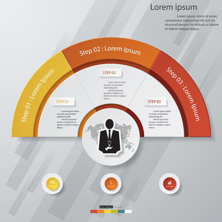 3 step chart templategraphic or website layout. Vector.