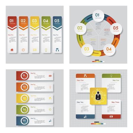Verzameling van 4 ontwerp templategraphic of website-indeling. Vector achtergrond. Voor uw idee en presentatie.