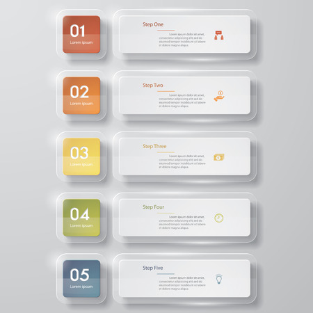 square button: Design clean number banners templategraphic or website layout. Vector.