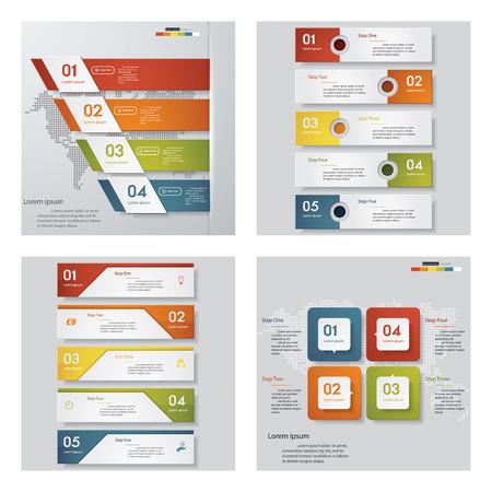 Collectie van 4 design template  grafische of website lay-out. Vector Achtergrond. Voor uw idee en de presentatie.