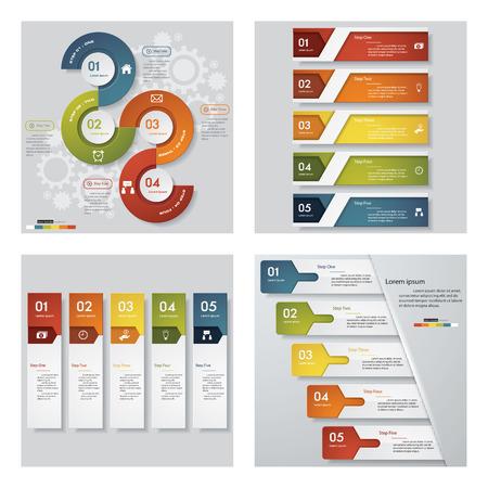 Het verzamelen van 4 design templategraphic of website lay-out. Vector Achtergrond. Voor uw idee en de presentatie.