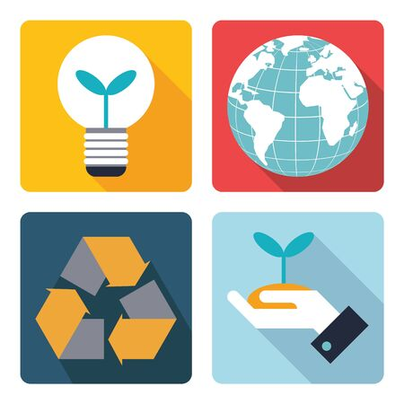 4 icon of save the world icon. vector illustration. Vector