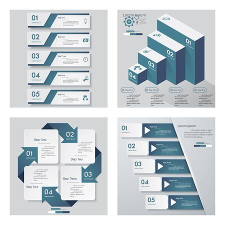Collection of 4 blue color templategraphic or website layout. Vector Background.