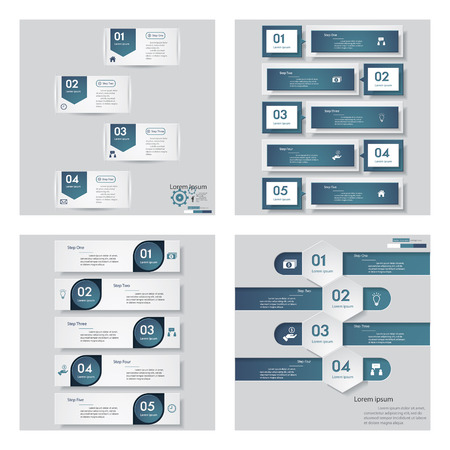 Collection of 4 blue color templategraphic or website layout. Vector Background. For your idea and presentation. Vector