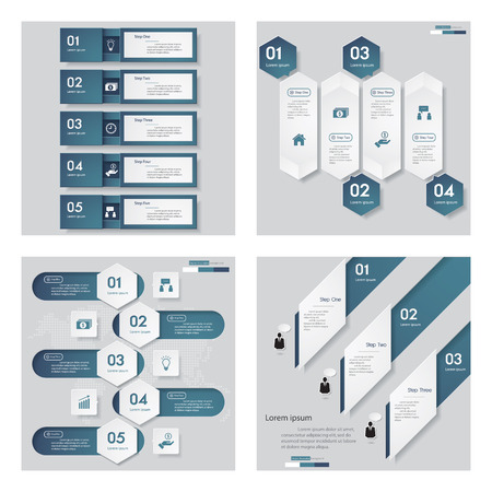 Collection of 4 blue color templategraphic or website layout. Vector Background. For your idea and presentation.