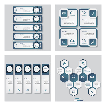 website layout: Collection of 4 blue color templategraphic or website layout. Vector Background. For your idea and presentation.