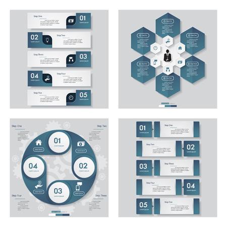 Verzameling van 4 blauwe kleuren templategraphic of website layout. Vector Achtergrond. Voor uw idee en presentatie.