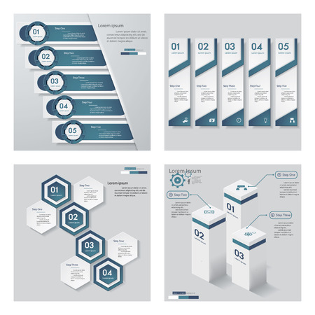 beat brochure: Collection of 4 blue color templategraphic or website layout. Vector Background. For your idea and presentation.