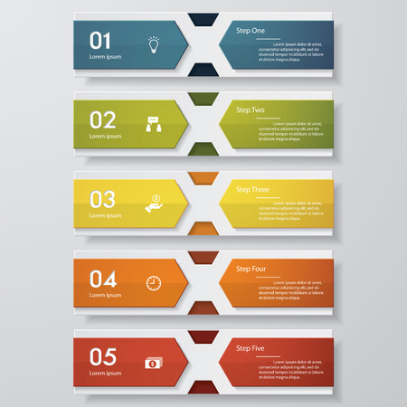 menu buttons: Design clean number banners templategraphic or website layout. Vector.