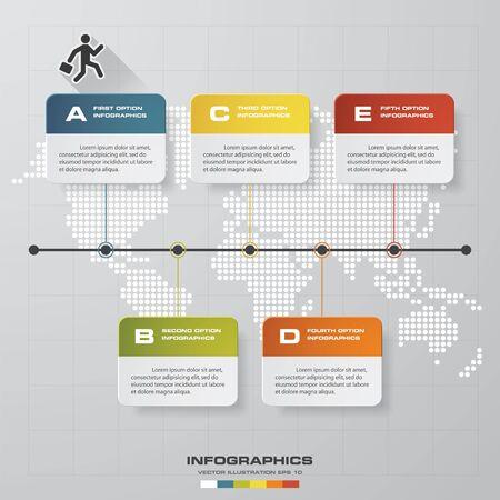 timeline: timeline description. 5 steps timeline infographic with global map background for business design