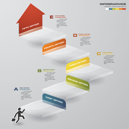 escalera: negocio gráfico abstracto. 5 Pasos plantilla de diagrama. Vector. Paso a paso idea.