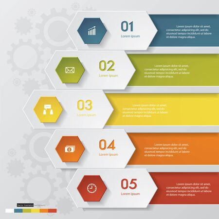 Abstract 5 steps infographics elements.Vector illustration.