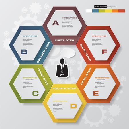 Abstract 6 steps infographics elements.Vector illustration. Иллюстрация