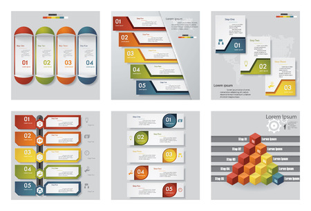 six: Collection of 6 design templategraphic or website layout. Vector Background. For your idea and presentation.