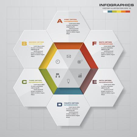 six web website: 6 steps diagram for your design.Design clean templategraphic or website layout. Illustration