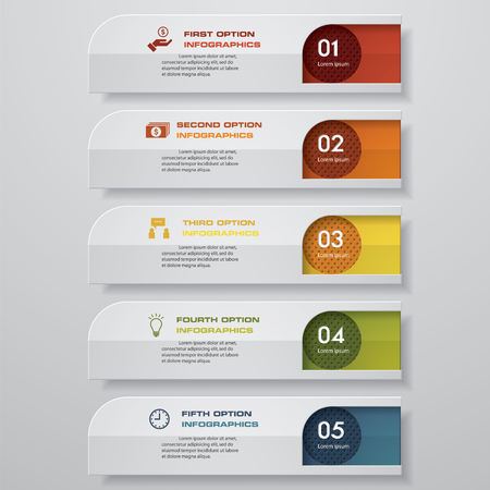 tabs: Simple  Editable abstract red dots 5 steps order diagrams. Graphic  infographics elements. Vector illustration.