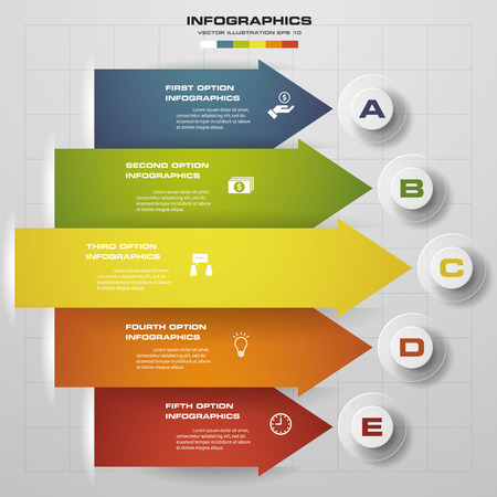 5 steps modern arrow infographics elements. Vector illustration. Can be used for workflow layout, diagram, number and step up options, web design. Illustration