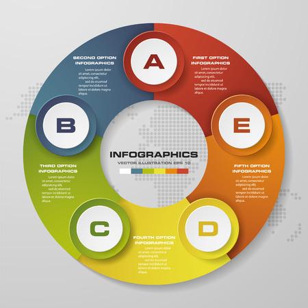 5 steps circle infographics diagram. Vector Illustration background.