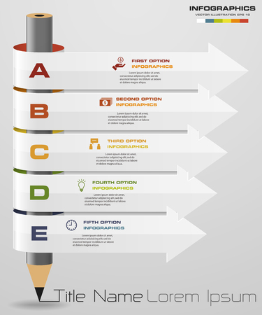 step up: Abstract pencil Infographics with 5 step option. Vector illustration. can be used for workflow layout, diagram, number options, step up options,