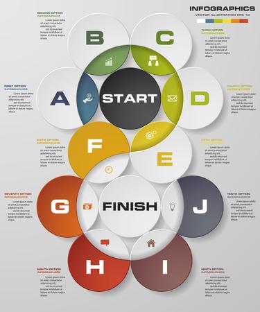 추상 비즈니스 차트입니다. 10 단계 다이어그램 templategraphic 또는 웹 사이트 레이아웃. 벡터. 단계별 아이디어. 일러스트