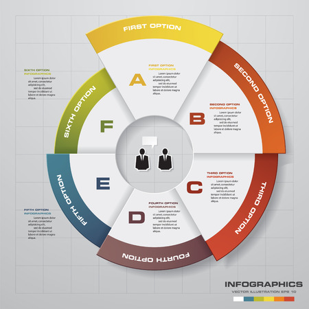 Template for diagram, graph, presentation and chart with 6 options, parts, steps or processes. Vector infographic