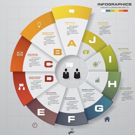 インフォ グラフィック デザイン テンプレート、ビジネス コンセプト 10 のオプション、部品、ステップまたはプロセス。ワークフローのレイアウト