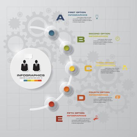 Samenvatting 5 stappen zakelijke presentatie sjabloon Stock Illustratie