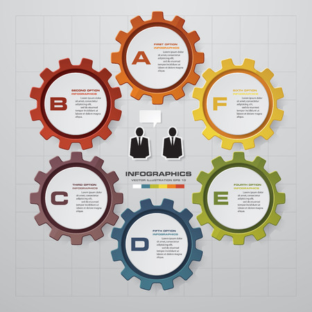 six: 6 steps of info graphic gears shape on global map background. Simple  Editable vector background for presentation.