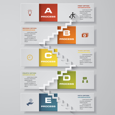Abstract business 5 step staircase infographics. Vector illustration. step by step  view your data  person goes up the stairs  vector illustration