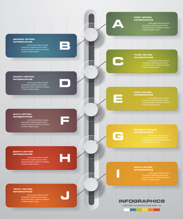 work flow: Infographic designtimeline template and business concept with 10 options, parts, steps or processes. Can be used for work flow layout, diagram, number options, web design. Illustration