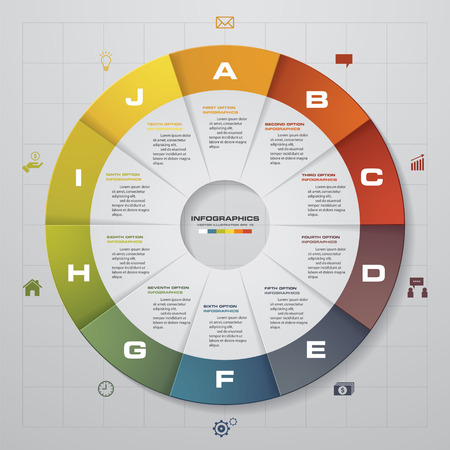 Cycle design template and business concept with 10 options, parts, steps or processesgraphic or website layout. Vector.