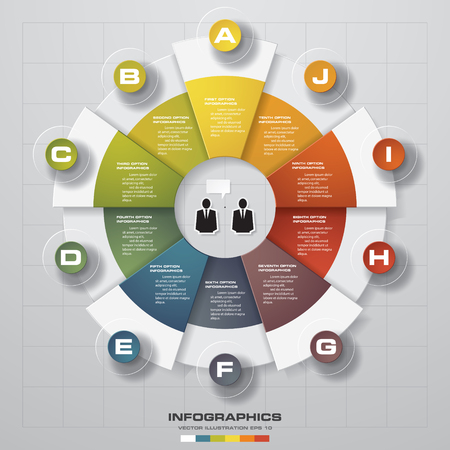 design process: Cycle design template and business concept with 10 options, parts, steps or processesgraphic or website layout. Vector.