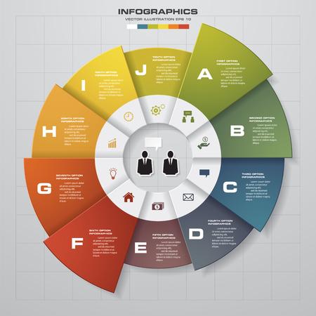 gráfico: Molde do projeto de ciclo e conceito de negócio com 10 opções, partes, passos ou disposição processesgraphic ou site. Vetor.