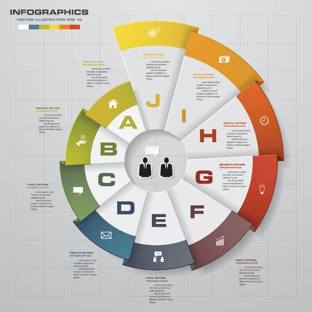 business chart: Infographic design template and business concept with 10 options, parts, steps or processes. Can be used for work flow layout, diagram, number options, web design. Illustration