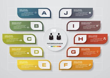 diagrama: Plantilla de diseño Infografía y concepto de negocio con 10 opciones, partes, etapas o procesos. Puede ser utilizado para el diseño de flujo de trabajo, diagrama, opciones numéricas, diseño de páginas web. Vectores