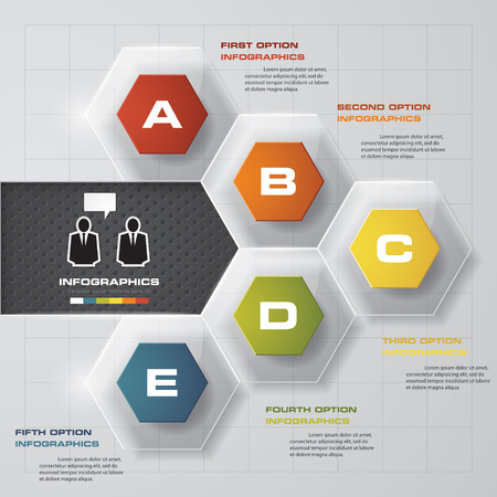 work flow: 5 steps option template. business concept with 10 options, parts, steps or processes. Can be used for work flow layout, diagram, number options, web design. Illustration