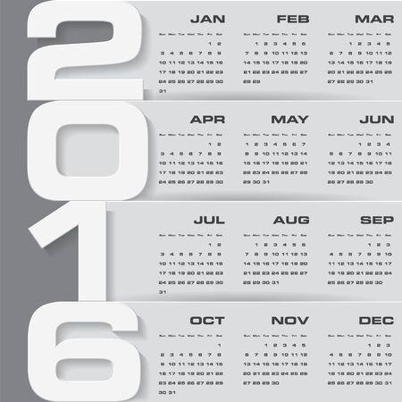 calendario julio: calendario del diseño del vector del diseño 2016 año sencilla template.12 monta a partir de enero a diciembre el año 2016