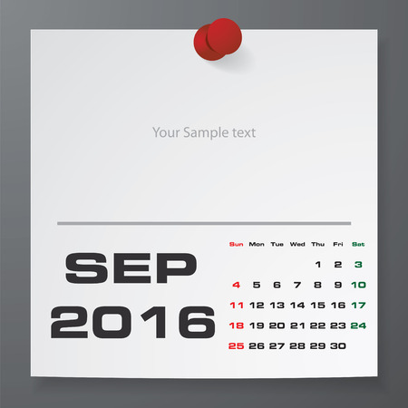 Simple 2016 Year Vector Calendar With Free Space For Your Sample Text :  September 2016