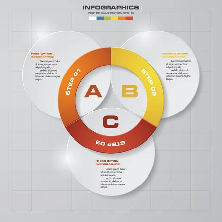 circle icon: Design 3 steps presentation template. EPS10.
