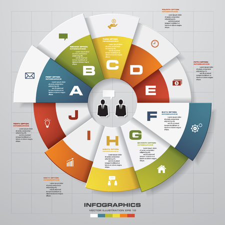 design process: Infographic design template and business concept with 10 options, parts, steps or processes. Can be used for work flow layout, diagram, number options, web design. Illustration