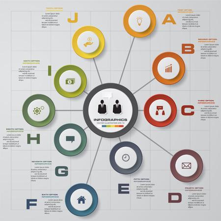 proceso: Plantilla de diseño Infografía y concepto de negocio con 10 opciones, partes, etapas o procesos. Puede ser utilizado para el diseño de flujo de trabajo, diagrama, opciones numéricas, diseño de páginas web. Vectores