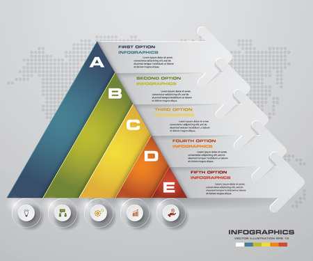 pyramid shape: Abstract pyramid shape layout with 5 steps clean number banners templategraphic or website layout. Vector. Illustration